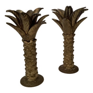 Mottahedeh Brass Palm Tree Candlesticks - a Pair For Sale