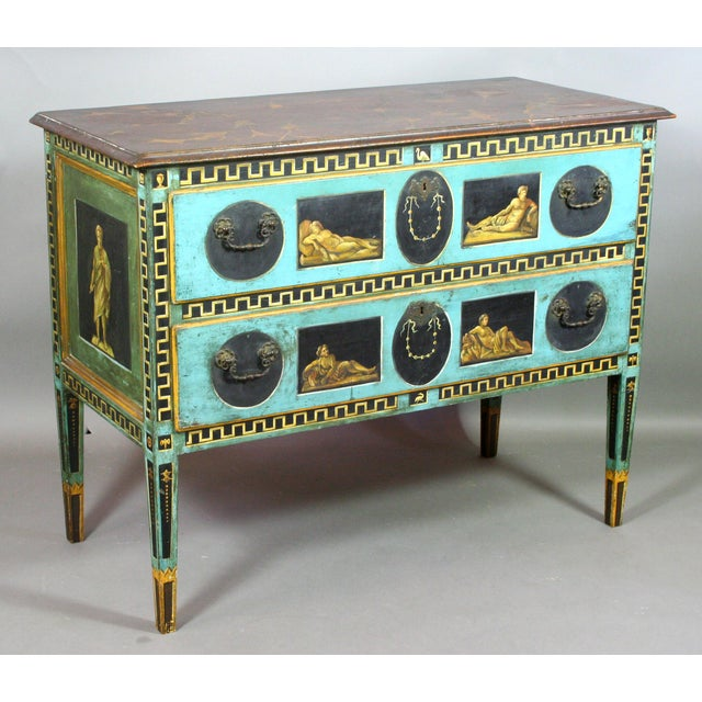Wood Late 19th Century Italian Neoclassical Hand-Painted and Decorated Two Drawer Chest For Sale - Image 7 of 7