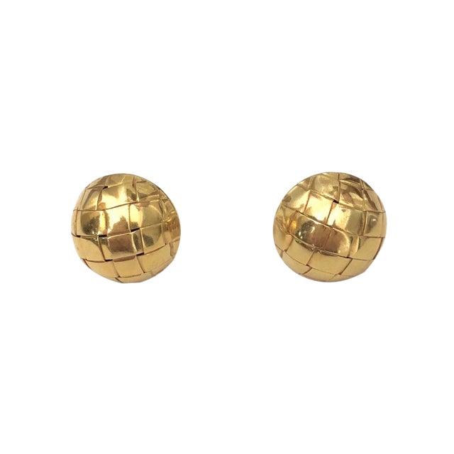 18k Gold Italian Basketweave Half Dome Pierced Earrings For Sale
