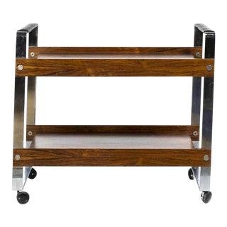 1950s Mid-Century Modern Merrow Associates Chrome Rosewood + Leather Bar Cart Trolley For Sale