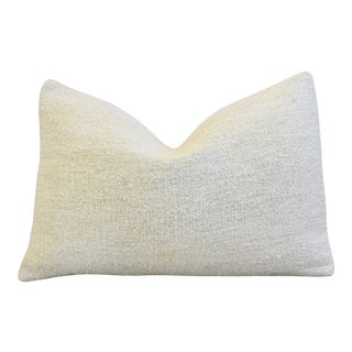 "Neutral Organic Hemp/Cotton Kilim Feather/Down Pillow 24"" X 16"" For Sale"