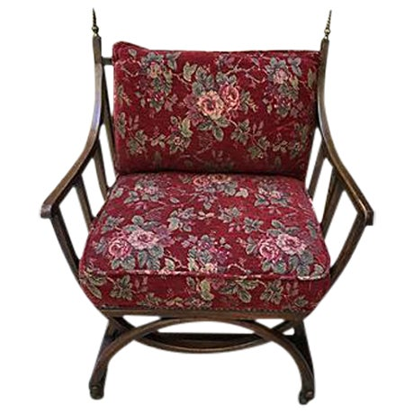 Red Floral Barrel Chair For Sale