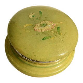 Italian Green Alabaster Floral Hinged Trinket Box For Sale
