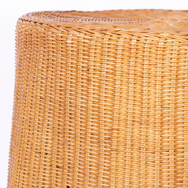 Wicker Midcentury Wicker Drape Tables or Stands - A Pair For Sale - Image 7 of 9
