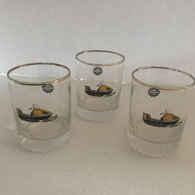 Vintage 1970s Bombardier Snow Mobile Double Old Fashion Glasses - Set of 3 For Sale In New York - Image 6 of 6