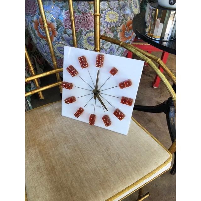 Acrylic Mid-Century Las Vegas Dice Desk Clock For Sale - Image 7 of 9