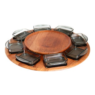 Vintage Danish Dismed Teak and Smoke Glass Lazy Susan - 9 Pieces For Sale