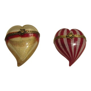 1970s Murano Hand Blown Hinged Heart Trinket Boxes - a Pair For Sale