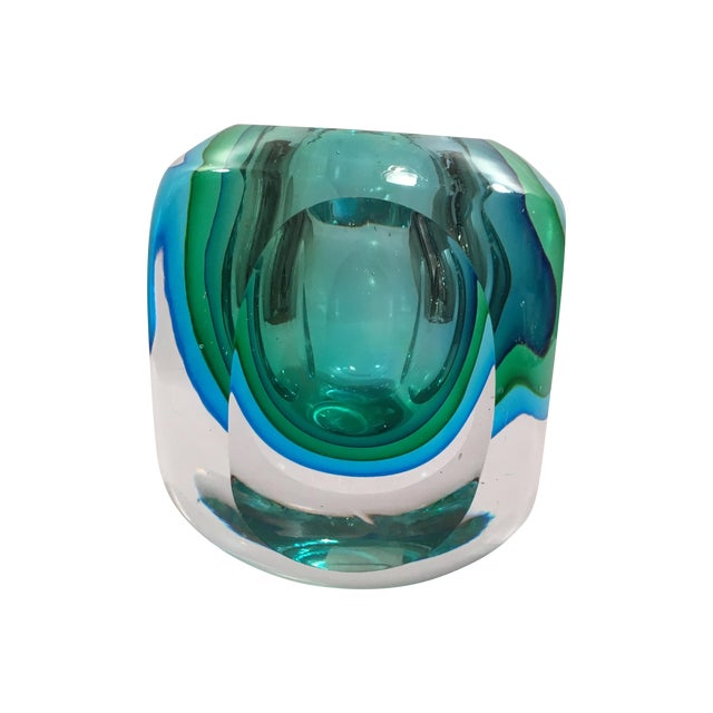 Crystal Cased Green & Blue Glass Candle Holder - Image 1 of 8