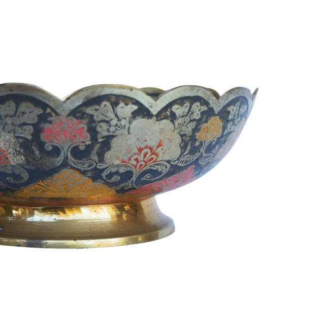 Peacock Engraved Moroccan Brass Bowl For Sale - Image 4 of 8