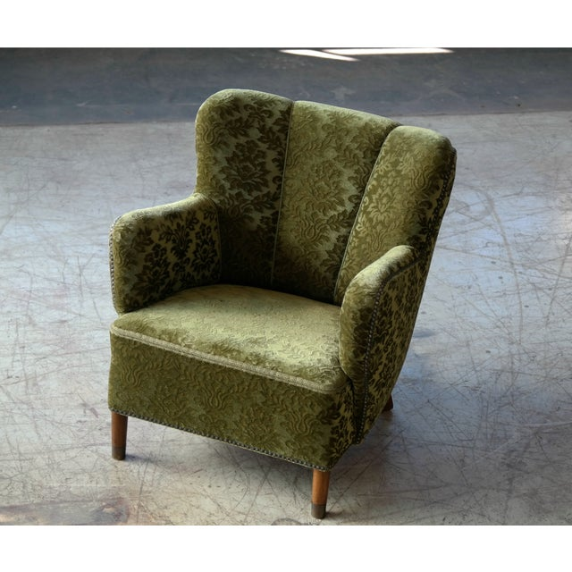 1940s Pair of Danish 1940s Fritz Hansen Model 1669 Style Lounge Chairs For Sale - Image 5 of 11