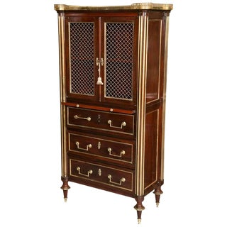 Mahogany Storage Chest Attributed to Maison Jansen With Galleried Marble Top For Sale