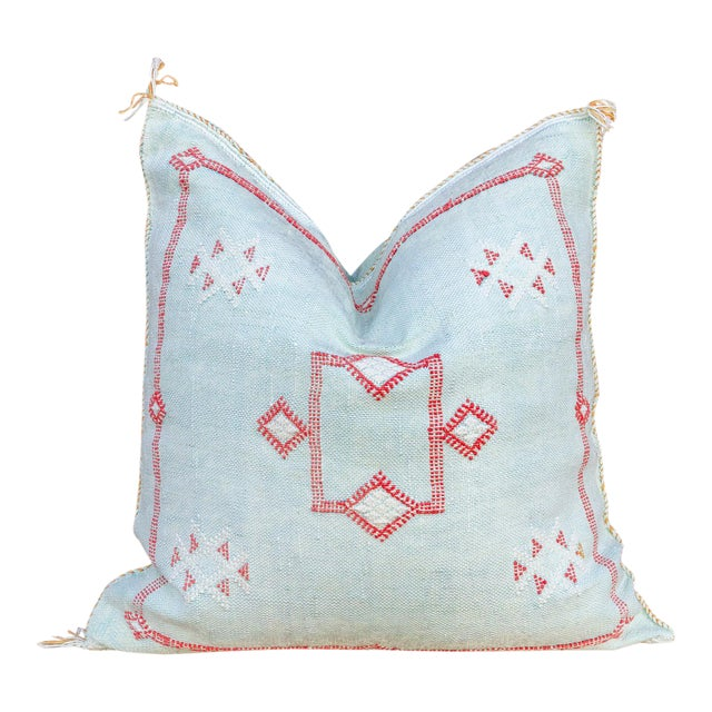 Shai Large Square Moroccan Silk Rug Pillow For Sale