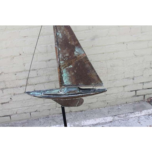 Metal 19th c. New England Folk Art Copper Sailboat Weather Vane For Sale - Image 7 of 8