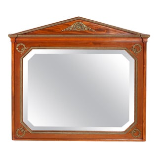 French Mahogany Wood Framed Beveled Wall Mirror For Sale