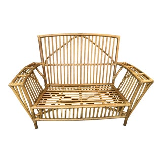Vintage Rattan Loveseat For Sale