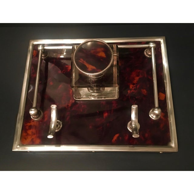 Red Tortoise & Sterling Silver Ink Well For Sale In Los Angeles - Image 6 of 6