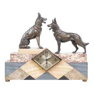Art Deco Marble German Shepherd Mantle Clock For Sale