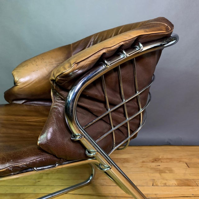 Gaston Rinaldi 1970s Leather Wireframe Armchair, Rima Italy For Sale - Image 11 of 12