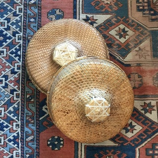 Vintage Chinese Rice Paddy Woven Wicker Coolie Hats - a Pair Preview