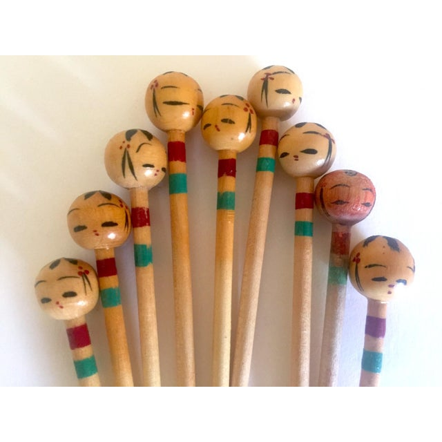Paint Vintage Mid Century Japan Rare Kokeshi Hand Painted Wood Hors d'Oeuvre Picks / Cocktail Skewers - 11pc Set For Sale - Image 7 of 13