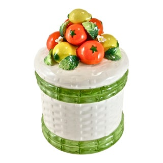 Vintage Capodimonte Style Fruit Top Jar