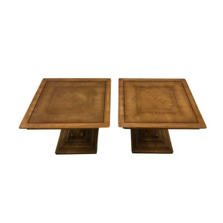 1970s Mid-Century Modern Oak Accent Tables - a Pair