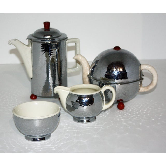 Silver 1920s Silver and Porcelain Tea Set of 4 For Sale - Image 8 of 8