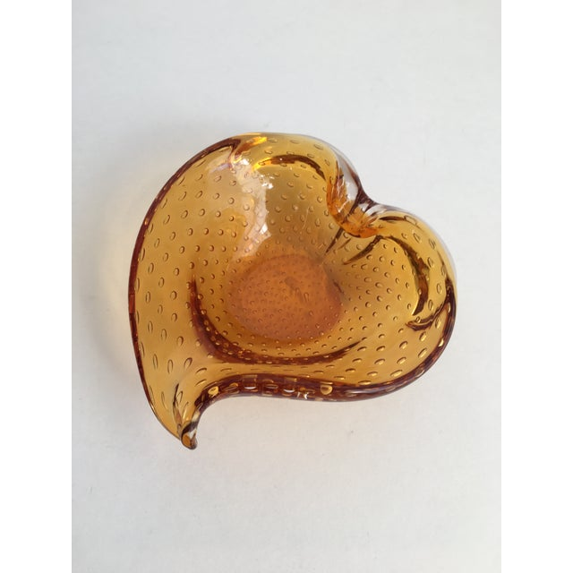 Amber Vintage Amber Murano Glass Bullicante Dish For Sale - Image 8 of 8