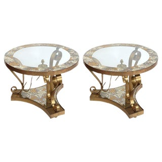 1950's Glass Top Side Tables by Arturo Pani - a Pair For Sale