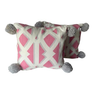 Pink and Grey Pom Pom Pillows - A Pair For Sale