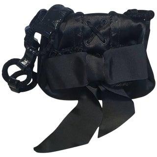 Yves Saint Laurent Ysl Black Silk Satin Ribbon Bow Evening Bag For Sale