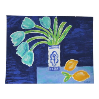 Aqua Tulips by Cleo Plowden For Sale