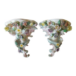 Antique Dresden Porcelain Wall Bracket Shelf With Flowers - a Pair For Sale