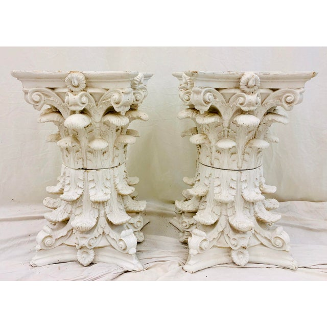 Stunning Vintage Greek Corinthian Style Acanthus Leaf Column Planters. Original white painted finish, fittings and plaster...