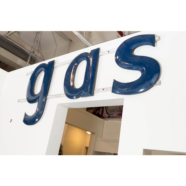 "Blue 1950s American ""GAS"" Sign in Blue Enameled Metal For Sale - Image 8 of 9"