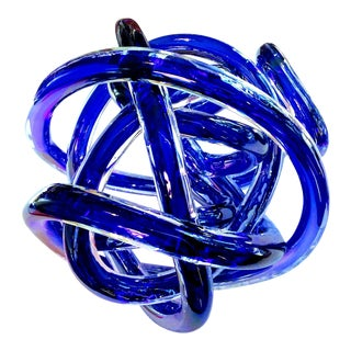 Sapphire Cased Glass Knot For Sale