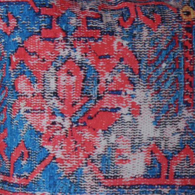 Red Distressed Turkish Rug Print Pillow For Sale - Image 4 of 7