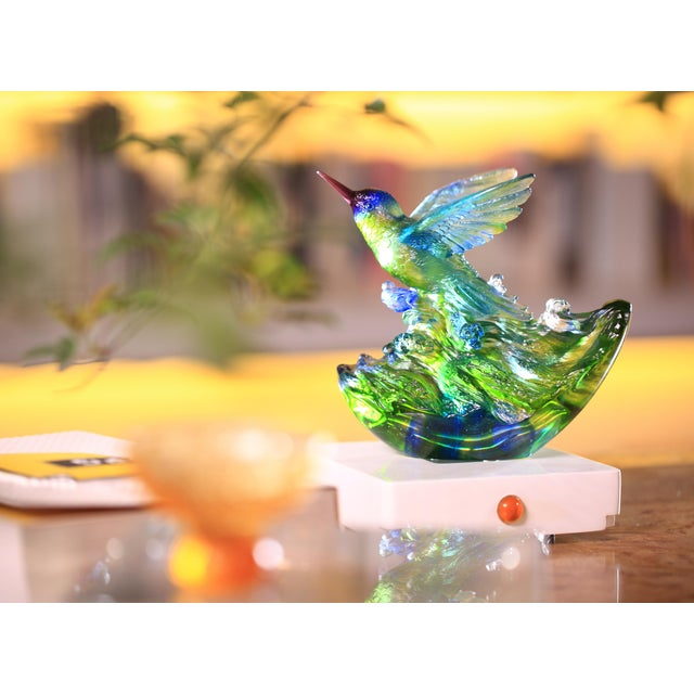 """Liuli Crystal Art Crystal Hummingbird, """"Victory by Daybreak"""" Sculpture (Limited Edition) For Sale In Los Angeles - Image 6 of 8"""