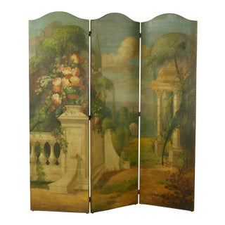French Hand Painted Leather Folding Screen With Classical Scene For Sale
