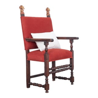 Antique Belgian Red Armchair For Sale