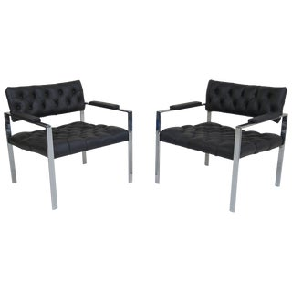 Pair of Leather Tufted Lounge Chairs by Harvey Probber For Sale
