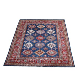 "Navy Blue, Red, Pink Shirvan Design Hand Made Wool Carpet - 9'9"" X 7'11"" For Sale"