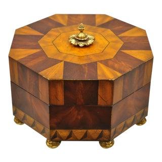 Maitland Smith Marquetry Inlay Octagonal Wood Brass Desk Trinket Jewelry Box For Sale