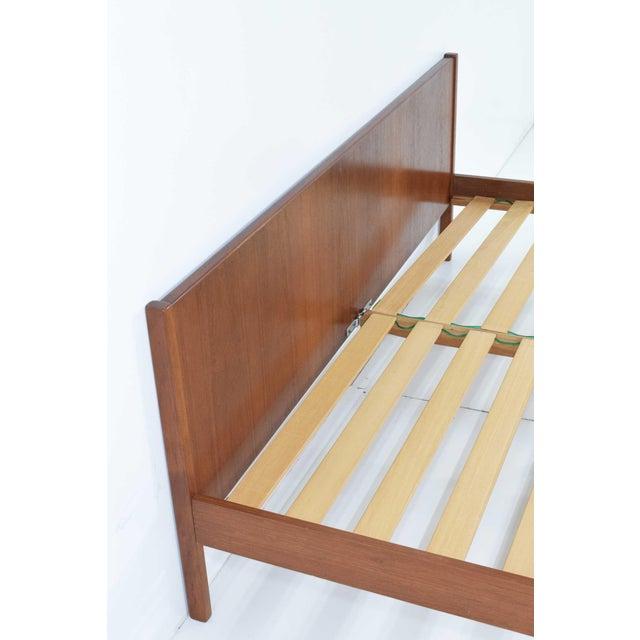 "1960s Danish Modern Teak Oversized Queen Bed Frame, 69.5"" Wide For Sale - Image 5 of 10"