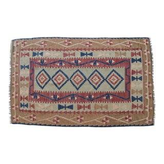 Vintage Hand Woven Turkish Rug Flat Weave Wool Area Kilim Rug - 3′4″ × 5′5″ For Sale