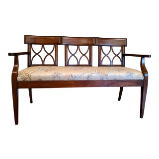 Carved Cherry Triple Splat Back Upholstered Settee For Sale