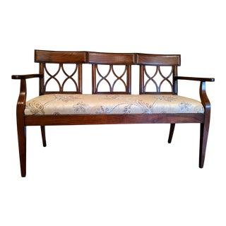 Carved Cherry Triple Splat Back Upholstered Settee For Sale