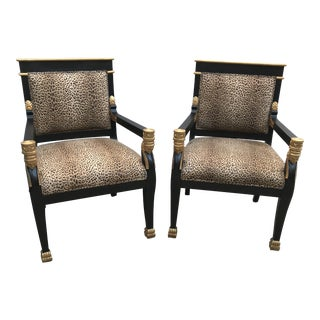 Antique Egyptian Revival Chairs - a Pair
