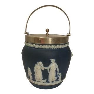 Rare 1910 Blue Antique Wedgwood Biscuit Barrel Jar For Sale